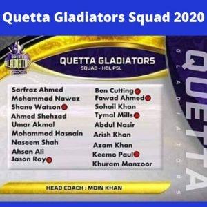 psl quetta gladiators Squad 2020