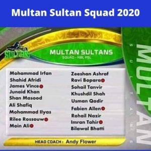 psl multan sultan squad 2020