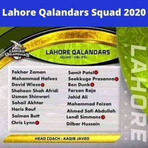 PSL Lahore Qalandars Squad 2020