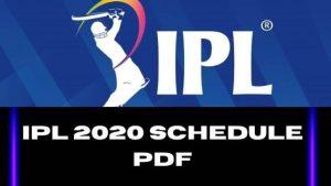 IPL 13 Schedule Download In PDF