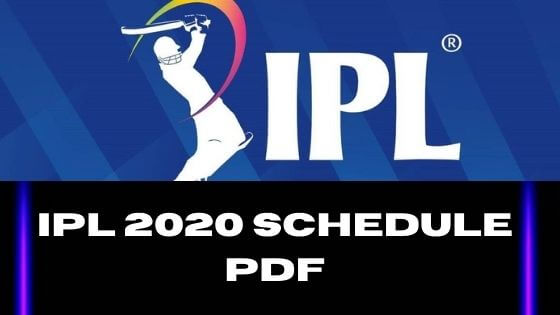 IPL 13 Schedule Download In PDF