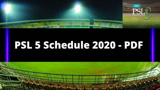 PSL 5 Schedule 2020 PDF Download